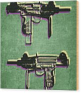 Mini Uzi Sub Machine Gun On Green Wood Print