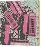 Miniature London Town Wood Print