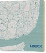 Minimalist Artistic Map Of Lisbon, Portugal 3a Wood Print