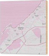 Minimalist Modern Map Of Alexandria, Egypt 1 Wood Print