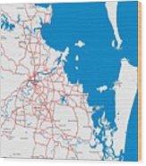 Minimalist Modern Map Of Brisbane, Australia 6 Wood Print