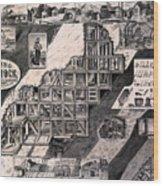 Mining On The Comstock, Cutaway Wood Print