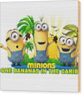 Minions In The Caribbean Wood Print