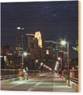 Minneapolis From The Stone Arch Bridge Wood Print