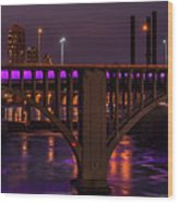Minneapolis In Purple 4 - Wide Crop Wood Print