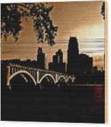 Minneapolis Skyline In Copper Wood Print