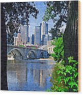 Minneapolis Through The Trees Wood Print