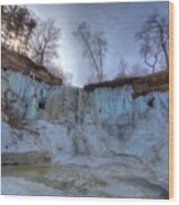 Minnehaha Falls Minneapolis Minnesota Winter Morning Wood Print