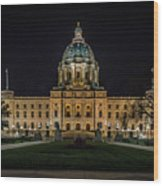 Minnesota Capital At Night Wood Print
