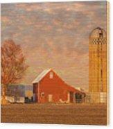 Minnesota Farm At Sunset Wood Print