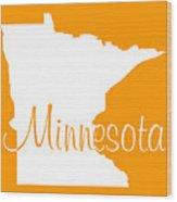 Minnesota In White Wood Print