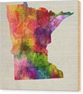 Minnesota State Map 02 Wood Print