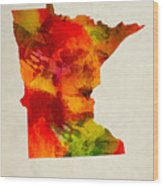 Minnesota State Map 04 Wood Print
