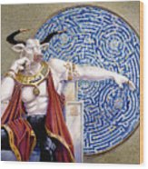 Minotaur With Mosaic Wood Print