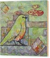 Mint Green Bird Art Wood Print