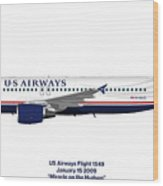 Miracle On The Hudson - Us Airways A320 Wood Print
