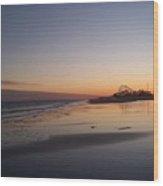 Mirror Reflection Beach Surf Wood Print