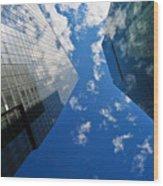 Mirrored Buildings Wood Print by Mandy Wiltse