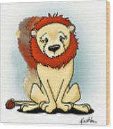 Lion Peaceful Reflection  Wood Print