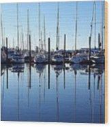 Mirrored Masts  Wood Print