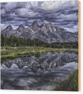 Mirrored Mountains Wood Print