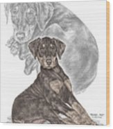 Mischief ... Moi? - Doberman Pinscher Puppy - Color Tinted Wood Print by Kelli Swan