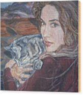 Misha The Cat Woman Wood Print