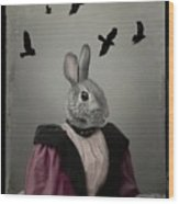 Miss Bunny And Crows Wood Print