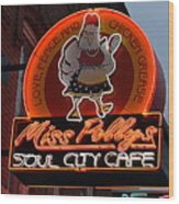 Miss Polly's Soul City Cafe Wood Print
