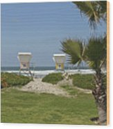 Mission Beach Shelters Wood Print