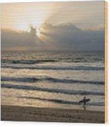 Mission Beach Surfer Wood Print