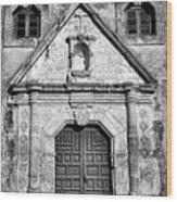 Mission Concepcion Entrance - Bw Wood Print