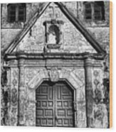 Mission Concepcion Front - Classic Bw Wood Print
