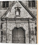 Mission Concepcion Front - Toned Bw Wood Print