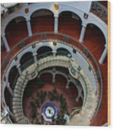 Mission Inn Circular Stairway Wood Print