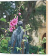 Mission Statue And Flower Wood Print