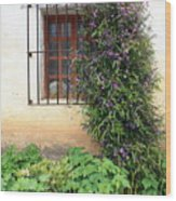 Mission Window With Purple Flowers Vertical Wood Print