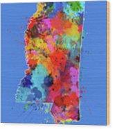 Mississippi Map Color Splatter 3 Wood Print