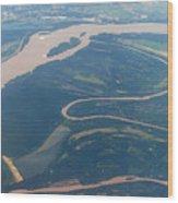 Mississippi River Aerial Shot Wood Print