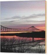 Mississippi River At Savanna Wood Print