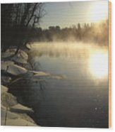 Mississippi River Bank Sunrise Wood Print