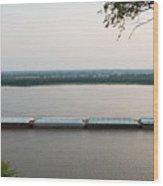 Mississippi River Barge Wood Print