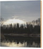 Mississippi River Dawn Clouds Wood Print