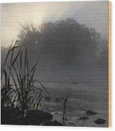 Mississippi River Dawn Sun Rays Wood Print