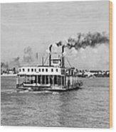 Mississippi River Ferry Boat Wood Print