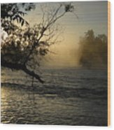Mississippi River Foggy June Sunrise Wood Print
