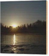 Mississippi River Golden Sunrise Wood Print