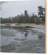 Mississippi River Ice Flow Wood Print