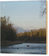 Mississippi River Moon At Dawn Wood Print