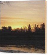 Mississippi River Orange Sky Wood Print